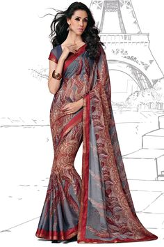 Grey Color Casual Printed Party Wear Sarees From Easysarees.