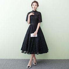 ドレス-ロング 半袖 黒レース ロング パーティードレス 結婚式 演奏会 マキシ(6)