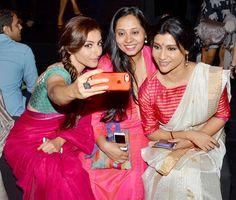Soha Ali Khan, Konkana Sen Sharma and a friend in 'selfie mode' at the Lakme Fashion Week Winter/Festive 2014 Day 3.