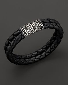 John Hardy Men's Dot Silver Black Woven Leather Bracelet