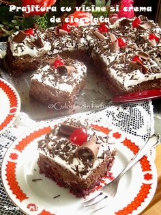» Prajitura cu visine si crema de ciocolataCulorile din Farfurie Food Cakes, Nutella, Tiramisu, Cake Recipes, Cheesecake, Muffin, Food And Drink, Breakfast, Ethnic Recipes