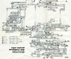 The developper map of Super Metroid (SNES).