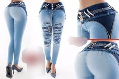 Two tone distressed Rebel Jean with butt lifting technology - Salvabrani Cute Jeans, Sexy Jeans, Skinny Jeans, Women's Jeans, Sport Outfits, Cute Outfits, Girls Jeans, Fashion Outfits, Womens Fashion