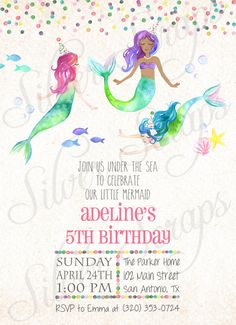 Watercolor Mermaids and Confetti Custom Girls Birthday Party Invitation - Hand Painted Little Mermaid Fish Turquoise Pink Matching Back Side