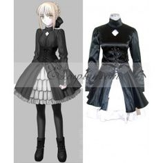 Fate Saty Night Saber Black Dress Cosplay Costume $67.99