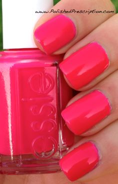 """Dark Peachy Pink. One of the most prettiest nail polishes!  By Essie in the shade  """"Bottle Service"""""""