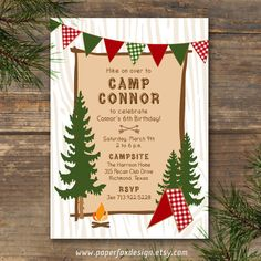 camping birthday party! at a real campsite, or out in the backyard with tents, a fire, smores & ghost stories. so cool & affordable. Party Invitation - Camp Theme - DIY Printable. $12.50, via Etsy.