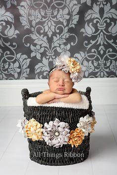 newborn child photography basket custom bow ATR yellow gray