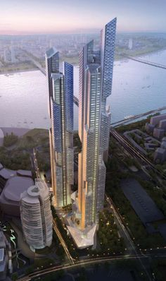 Dancing Dragons Twin Towers by Adrian Smith+Gordon Gill Architecture, Seoul, South Korea