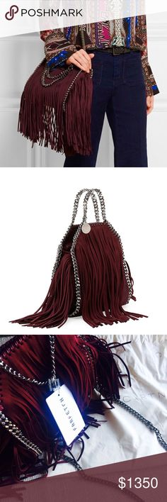 3xHP NWT Stella McCartney Falabella fringed tote Brand new with tag 100% Authentic Stella McCartney tiny 'Falabella' fringed tote. Pretty wine red color with cute fringe, a big plus to any outfit! Got it from Farfetch a while ago but haven't got chance to use. The Farfetch tag is still on. Comes in original package. Original price over $1900. Really good deal!  Dimensions:    width: 19 cm, height: 19 cm, depth: 3 cms, strap: 47 cm, handle: 7 cm Stella McCartney Bags Crossbody Bags