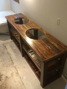 Rustic double vanity stained and coated