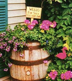 barrel of flowers