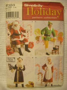 Adult Costume Pattern Santa Mrs Claus Elf Christmas Holiday Simplicity 4393 L XL