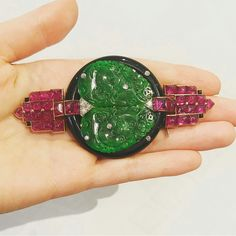 This Cartier Art Deco jadeite, Ruby and diamond brooch, Circa 1925, formerly in the collection of Mona Von Bismarck  #sothebysjewels #artdeco #cartier