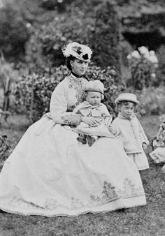 Alexandra, the Princess of Wales with her two sons Prince Albert Victor and the young Prince George (later George V)- September 1866.
