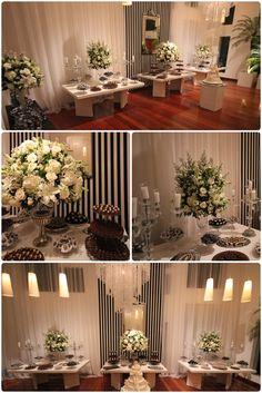 Mesa de doces em preto e branco .