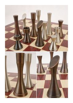 A contemporary heavy metal pewter and copper finished chess set. Based on an Yves Tanguy chess set it has beautiful style and balance. A fabulously art inspired chess set. X2082. Brought to you by ChessBaron.co.uk