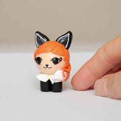 Fox Girl Figurine Red Fox Girl Polymer Clay Fox Girl