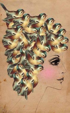 Bird Brain- surreal Collage Art by dollfacedesign, i love birds and pretty faces Art Du Collage, Surreal Collage, Surreal Art, Collages, Illustration Art Nouveau, Blog Deco, Illustrations, Mellow Yellow, Bird Art