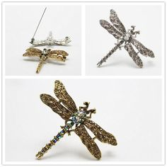 Delicate  Rhinestone Dragonfly  Brooch Women Pins Elegant Crystal Party Jewelry