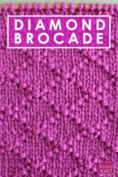 I think the elegant design of this Diamond Brocade Knit Stitch Pattern would be perfect to knit up a large pillow for my craft room. Check out FREE Knitting Pattern, Chart, Photos, and Video Tutorial by Studio Knit. #StudioKnit #knittingpattern #knitstitchpattern #knitting #freepattern