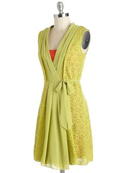 Mojito with the Flow Dress. Cheers to your all-around stunning style in this chartreuse-green wrap dress! #green #modcloth