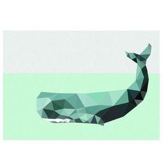 hardtofind.   Geometric whale art print