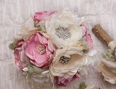 Custom Order: Fabric Flower Wedding Bouquet, with brooches - Sample SOLD