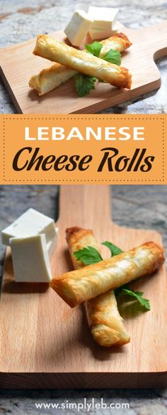 Lebanese Cheese Rolls Lebanese Cheese Rolls<br> Cheese rolls are nothing new to the appetizer world, but what distinguishes the Lebanese version is the type of cheese and dough used. Lebanese Desserts, Lebanese Cuisine, Lebanese Recipes, Arab Food Recipes, Middle East Food, Middle Eastern Recipes, Middle Eastern Desserts, Cheese Roll Recipe, Arabian Food