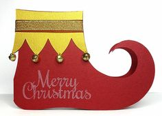 Elf Shoe Card by BirdsCards - Cards and Paper Crafts at Splitcoaststampers Ward Christmas Party, Kids Christmas, Xmas, Christmas Ornaments, Shoe Template, Elf Shoes, Polka Dot Paper, Santa's Little Helper, Christmas Paper Crafts