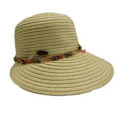 wide brim narrows toward back. Colorful bead chain and braided straw rope detail. Cappelli pin on side. One size fits most. Summer Hats For Women, Cloche Hat, Chain, Beads, Detail, Colorful, Products, Beading, Pearls