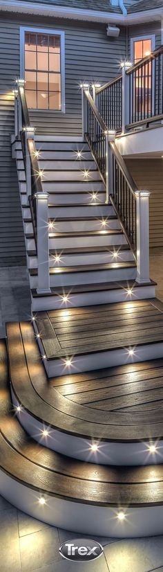 you're looking to create some drama and ambiance in your outdoor space, Trex deck lighting has just what you need. Learn how you can get stair riser and railing lighting installed at . Outdoor Landscaping, Front Yard Landscaping, Outdoor Gardens, Outdoor Decor, Landscaping Ideas, Outdoor Deck Decorating, Hillside Landscaping, Deck Lighting, Landscape Lighting