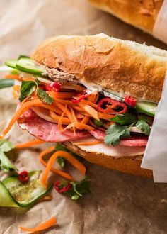 This Banh Mi recipe covers the truly authentic meats as well as how to make an exceptional Banh Mi just by going to your everyday grocery store! Vietnamese Pork Roll, Vietnamese Sandwich, Banh Mi Sandwich, Vietnamese Cuisine, Vietnamese Recipes, Asian Recipes, Ethnic Recipes, Vietnamese Banh Mi, Asian Foods