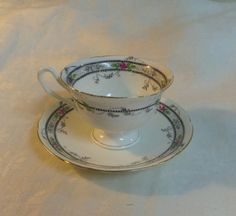 Shelley Footed Teacup Saucer Rose Bead Black Lace with Pink Rosebuds England 1925 to 1945