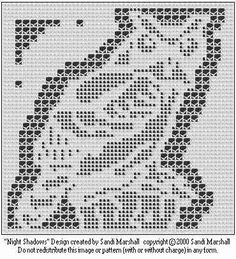 Night Shadows Owl filet crochet with lacets chart
