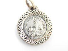 Vintage Our Lady of Fatima - Sacred Heart of Mary Catholic Medal - Nossa Senhora do Rosario da Fatima - Religious Charm by LuxMeaChristus