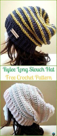 Crochet Rylee Long Slouch Beanie Hat Free Pattern-Crochet Slouchy Beanie Hat Free Patterns #HatsCrochetPatterns