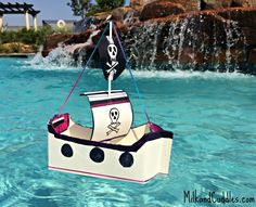 Easy DIY: Floating Pirate Ship Craft for Kids made from common recycled objects