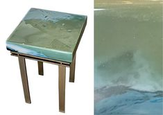 Elements mountain cast glass and bronze side table by Heather Cuell   Effusion Art Gallery + Cast Glass Studio, Invermere BC Luxury Cabin, Luxury Homes, Contemporary Decor, Modern Decor, Kiln Formed Glass, Glass Bar, Cast Glass, Glass Furniture, Canadian Art