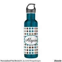 Personalized Teal Brown Polka Dot Water Bottle 24oz Water Bottle. http://www.zazzle.com/littlethingsdesigns?rf=238200194340614103