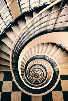 Spiral Staircase - Colors:  Peach, Black