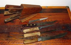 Just a bunch of old kitchen knives....some are very very old and unique and the others are older in the Oak Holder........great for sharpen and use or just to display or collect.......nice set and you receive everything in the photos.........You be lovin them up.. WE ACCEPT CREDIT AND DEBIT CARDS AT CHECKOUT................