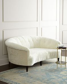 Wow, this is upholstered in SHEEPSKIN!  Old Hickory Tannery Hollis Sheepskin Sofa