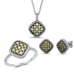 Sterling silver bonded with platinum with simulated diamonds by swarovski fashion set.  ZS-0258