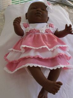 Baby knitted dress ruffles pink/white party by JaminaRose on Etsy, $30.00