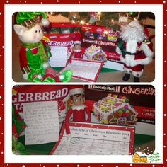 "Elf on the Shelf~2014~ Random Acts of Christmas kindness (RACK)- Day 2- Jolly Bob reports to Santa about the RACK the kiddos did~ they chose from the RACK calendar to ""compliment a friend"" as their acts of kindness so JB brought back a surprise~ Gingerbread houses for the kids to make!"