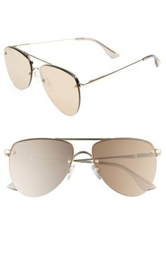 Free shipping and returns on Le Specs The Prince 59mm Mirrored Rimless Aviator Sunglasses at Nordstrom.com. Rimless, mirrored golden lenses add the Midas touch to futuristic aviator sunglasses made with spring hinges and adjustable nose pads for comfort.