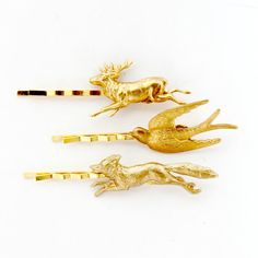 Woodland Bobby Pins, Forest Friends Bobby Pins, Whimsical Bobby Pin Set of Three