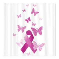 Pink Awareness Ribbon Shower Curtain  $57.99