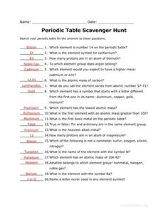Answer Key To The Periodic Table Scavenger Hunt Worksheet Related Teaching Chemistry Clroom Lessons